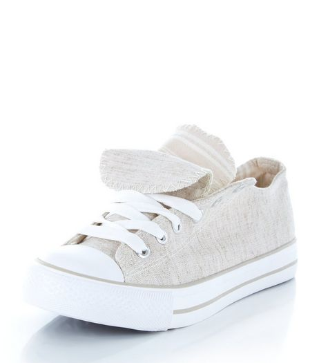 Teens Cream Double Tongue Lace Up Plimsolls | New Look