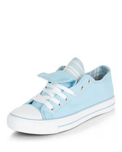 Teens Blue Double Tongue Lace Up Plimsolls | New Look