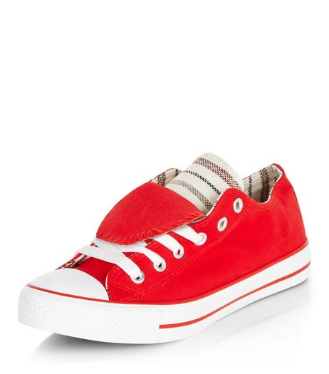 Teens Red Double Tongue Lace Up Plimsolls | New Look