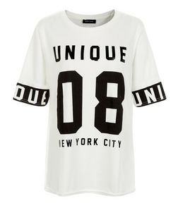 Cream Unique 08 Baseball T-Shirt  | New Look