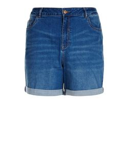 Curves Blue Denim Boyfriend Shorts | New Look