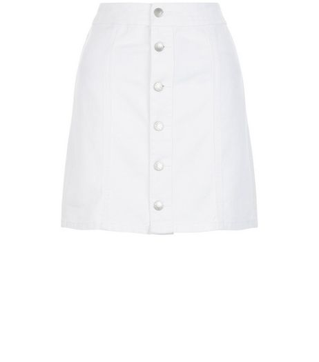 White Button Front A-Line Denim Skirt  | New Look