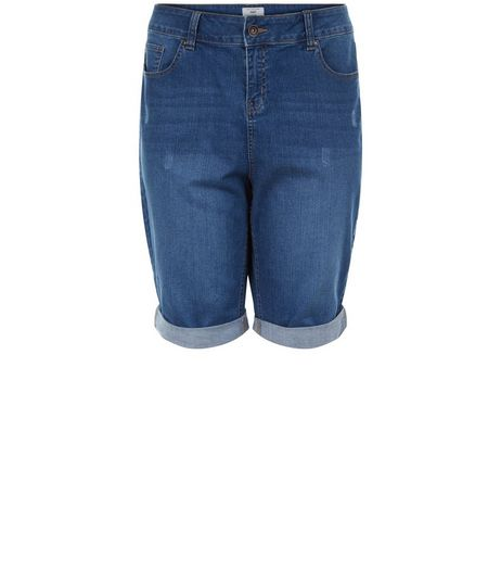 Curves Blue Knee Length Denim Shorts | New Look