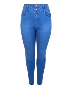 Plus Size Blue High Waisted Supersoft Skinny Jeans | New Look