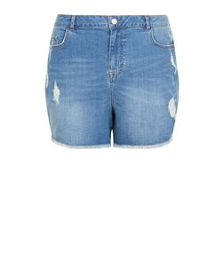 Plus Size Blue Fray Hem Ripped Denim Shorts | New Look