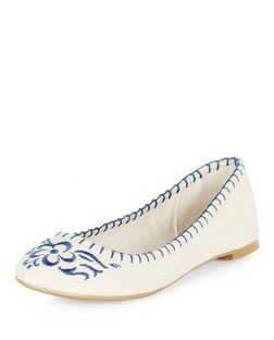 Cream Embroidered Ballet Pumps  | New Look