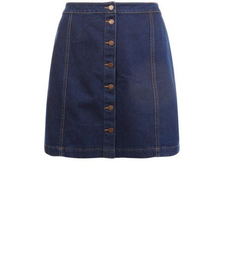 Curves Blue Button Front Denim Skirt  | New Look