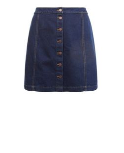 Plus Size Blue Button Front Denim Skirt  | New Look