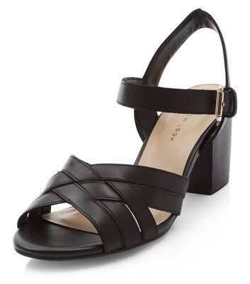 Sandalo  donna Wide Fit Black Leather Cross Strap Block Heel Sandals