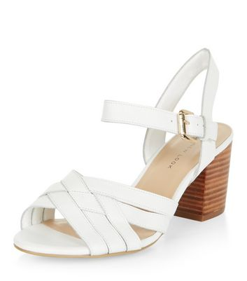 Sandalo  donna Wide Fit White Leather Cross Strap Block Heel Sandals
