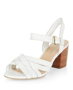 Wide Fit White Leather Cross Strap Block Heel Sandals  | New Look