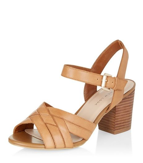 Wide Fit Tan Leather Cross Strap Block Heel Sandals  | New Look
