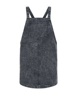 Teens Grey Denim Pinafore Dress | New Look