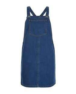 Teens Blue Denim Pinafore Dress | New Look