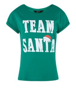 Teens Green Team Santa Print T-Shirt | New Look