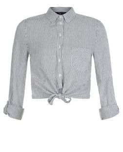 Teens Grey Stripe Tie Front Shirt | New Look