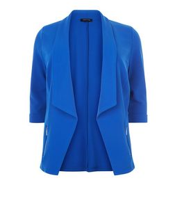 Plus Size Blue Zip Pocket Blazer | New Look