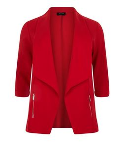 Plus Size Red Zip Pocket Blazer | New Look