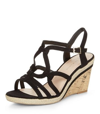Sandalo  donna Wide Fit Black Suedette Swirl Strap Wedges