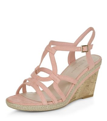 Sandalo  donna Wide Fit Stone Suedette Swirl Strap Wedges