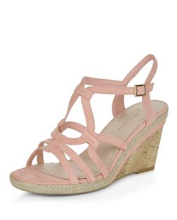 Wide Fit Stone Suedette Swirl Strap Wedges  | New Look