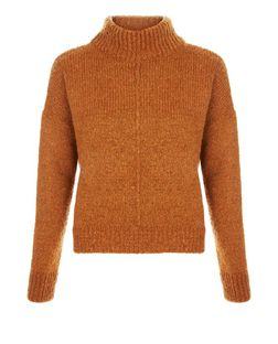 Rust Seam Trim Funnel Neck Jumper  | New Look