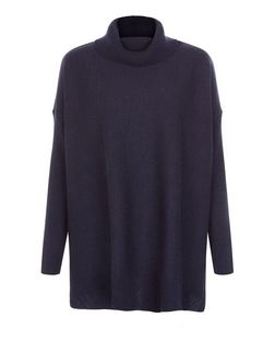 Blue Cowl Neck Hanky Hem Jumper  | New Look