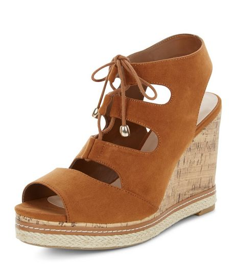 Wide Fit Tan Suedette Ghillie Wedges | New Look