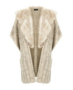 Stone Cable Knit Faux Fur Collar Cardigan  | New Look