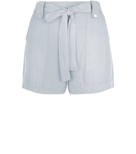 Pale Grey Viscose Belted Shorts  | New Look