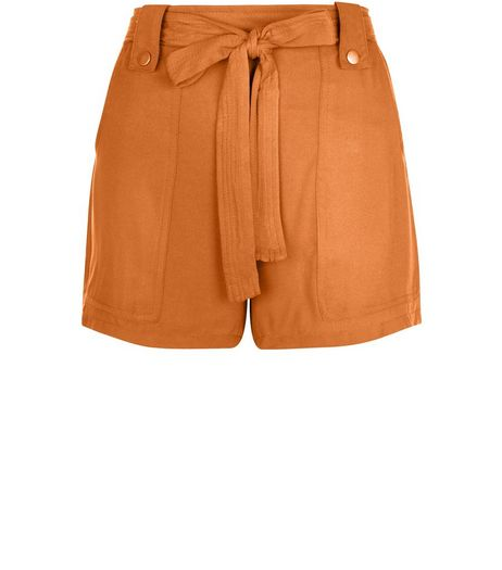 Tan Viscose Belted Shorts  | New Look