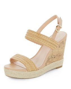Wide Fit Stone Woven Strap Wedges  | New Look