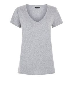 Grey V Neck Raw Trim T-Shirt | New Look