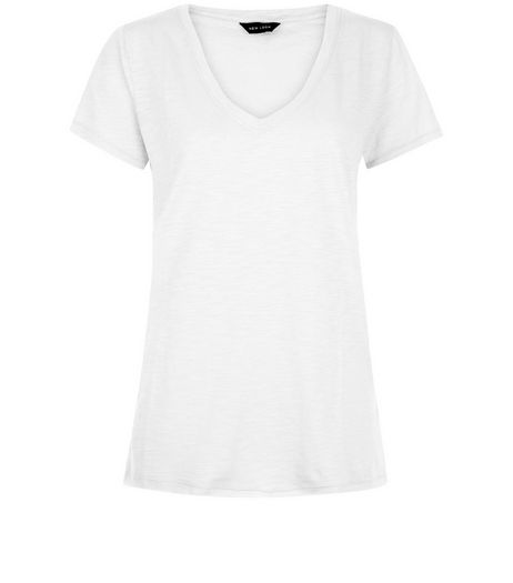 White V Neck Raw Trim T-Shirt  | New Look