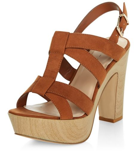 Wide Fit Tan Cross Strap Contrast Wooden Heels  | New Look