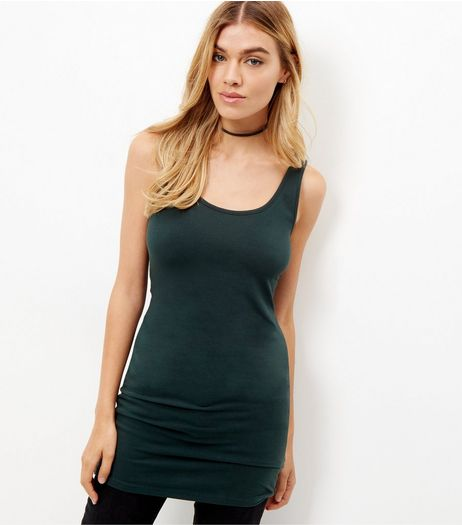 Dark Green Longline Vest  | New Look