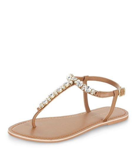 Wide Fit Tan Leather Diamante Sandals  | New Look
