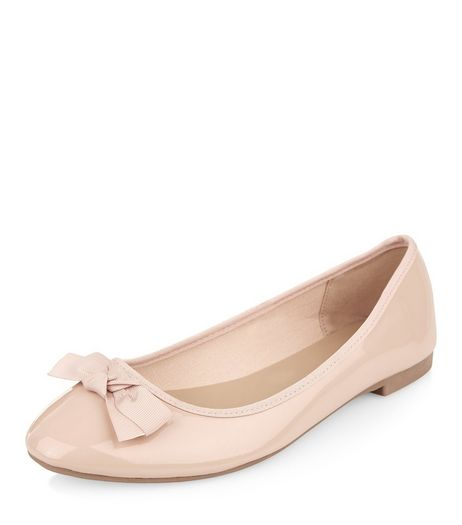 Wide Fit Nude Patent Ballet Pumps  | New Look