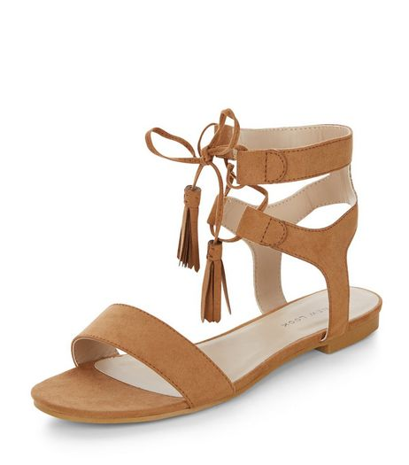 Wide Fit Tan Suedette Lace Up Sandals  | New Look