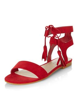 Wide Fit Red Suedette Lace Up Sandals  | New Look