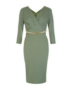 Khaki Wrap Front Belted 3/4 Sleeve Bodycon Dress | New Look