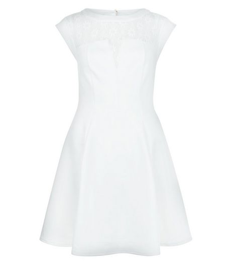 White Lace Panel Skater Dress  | New Look