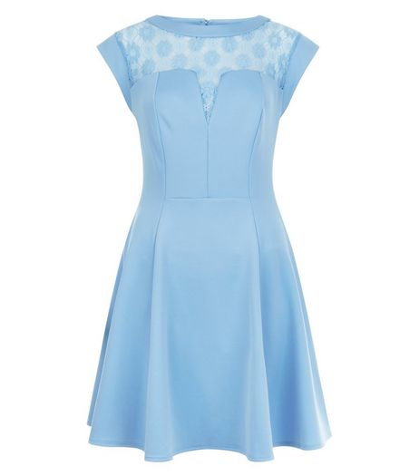Blue Lace Panel Skater Dress  | New Look