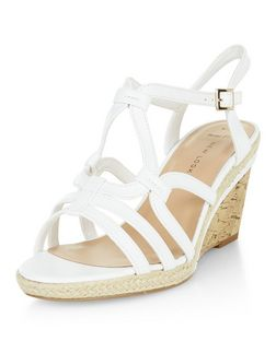 Wide Fit White Swirl Strap Wedges  | New Look