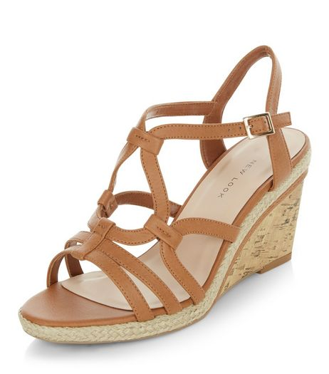 Wide Fit Tan Swirl Strap Wedges  | New Look