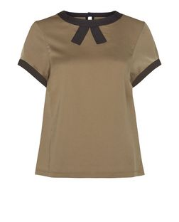 Cutie Green Contrast Keyhole Back Box Top  | New Look