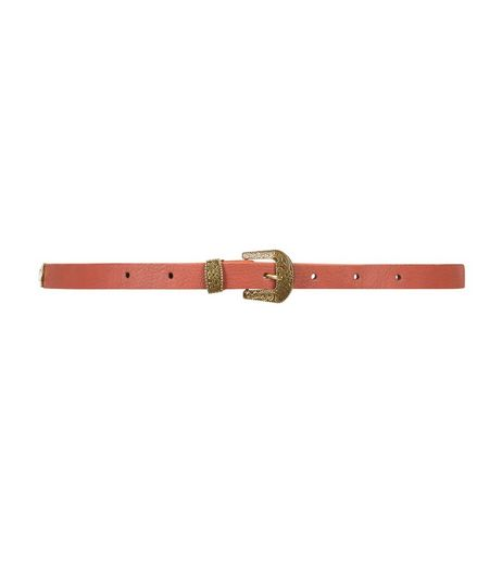 Tan Western Buckle Skinny Belt  | New Look