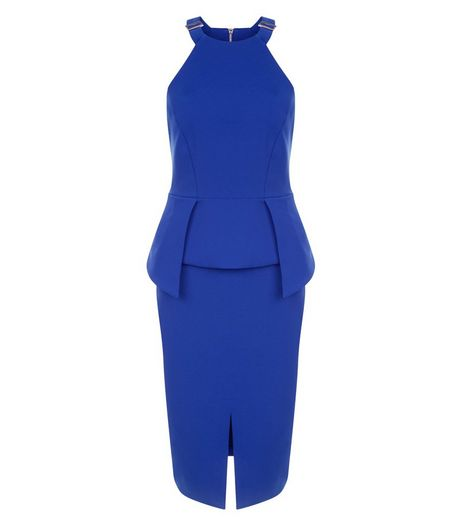 Blue Buckle High Neck Layered Peplum Pencil Dress  | New Look
