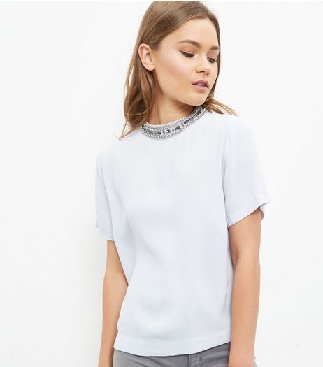Light Blue Embellished High Neck T-Shirt  | New Look