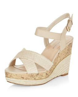 Wide Fit Cream Textured Cross Strap Wedge Sandals  | New Look